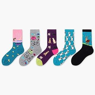 DBr, DBR Desodorización de Medias Calcetines de algodón, Calcetines Deportivos de Colores para Mujeres Hip Hop Correr/Caminar/Caminar, Camping (Paquete de 5),J
