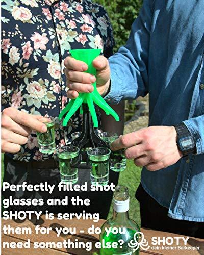 SHOTY® dein Kleiner Barkeeper inkl. 6 Pinnchen - Schnaps Ausgießer - Schnapsspender - Schnaps Geschenk - Schnapshalter - Trinkspiel - Schnaps Verteiler (Rot/Rot) - 7