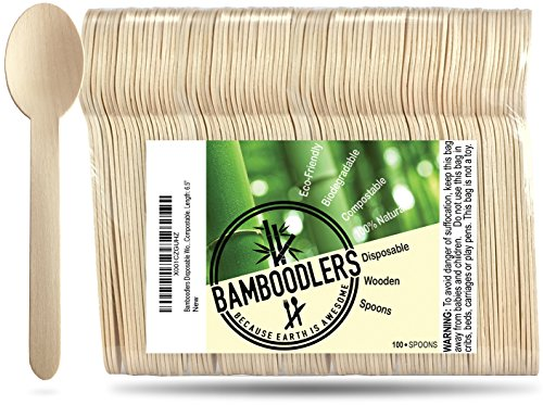 "Disposable Wooden Spoons by Bamboodlers | 100% All-Natural, Eco-Friendly, Biodegradable, and Compostable - Because Earth is Awesome! Pack of 100-6.5"" Spoons."