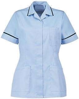 Instex Blue Healthcare Tunic, Dental Vet Salon, Sky Blue with Navy Trim, Pointed Collar INS32SK-N