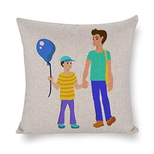 PeteGray Fundas de almohada para el padre y el hijo caminando 18 x 18 cm, decoración de casa de campo para sofá de estar decorativo para el padre, fundas de almohada para el dormitorio
