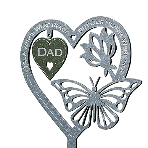 Memorial Gift Butterfly Ornament, Garden Memorial Plaque Mothers Day Fathers Day Crafts Gifts, Memorial Keepsake Decoration, Lawn Garden Yard Signs Stakes Outdoor Decor (Dad)