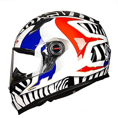 (Black and White Stripes) Integrierter Motorradhelm ECE | Klappbarer Motorradhelm, Offroad-Rennen, Motocross, für Honda/Yamaha/Suzuki/Kawasaki, Bandit-Helm.-L