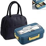 HautHome Lunch Box avec Compartiment, Sac à Lunch Isolé,Boîte à Bento Enfant et Adultes, Boîte à Repas pour Chauffage au Four à Micro-ondes