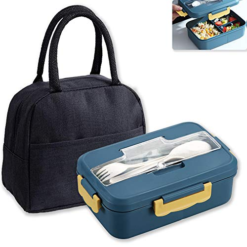 HautHome Caja de Almuerzo,Con bolsa aislante,caja bento a prueba de fugas para niños adultos, La lonchera se puede calentar en el microondas,Adecuado para almuerzos trabajo-escuela-al aire libre
