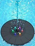 Solar Fountain Pump for Bird Bath, Solar Fountain Pumps Submersible Outdoor with Backup Battery, Free Standing Floating Small Solar Power Hummingbird Pool Fountain with Lights for Birdbath Pond Garden