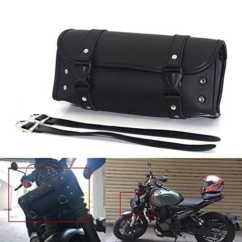 Essming Bisaccia Anteriore Posteriore contenitori portattrezzi Valigia Attrezzi Moto Forcella Sacchetto Impermeabile di Cuoio della Motocicletta del Sacchetto del Manubrio Pu Coda Bag Black Borse