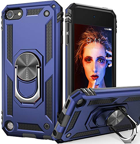 iPod Touch 7 Case, iPod Touch 6 Case with Car Mount,IDweel Hybrid Rugged Shockproof Protective Cover with Built-in Kickstand for iPod Touch 5 6 7th Generation, Blue