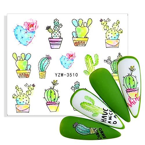 PMSMT 2021 diseños de Arte de uñas más nuevos Pegatinas Deslizadores Cactus Abstracto Mujer Esmalte de uñas envolturas de uñas calcomanías de Transferencia de Agua