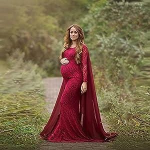 Vestido De Maternidad Para Fotografía - Vestido Elegante De Maternidad Para Mujer, Accesorio De Fotografía, Vestido De Novia De Manga Larga De Encaje Sexy Para Sesión De Fotos, Vestidos Largos Aju
