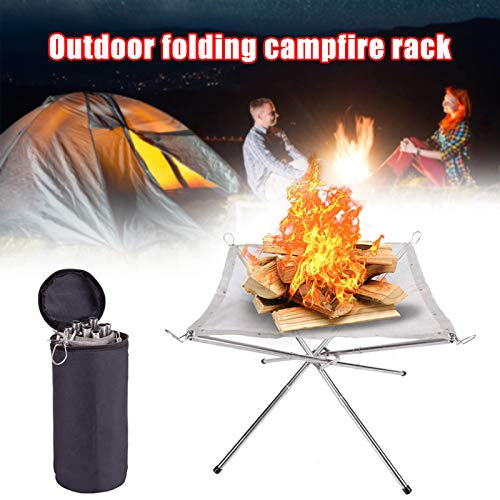 NYDG Portable Outdoor Fire Pit Camping Stainless Steel Mesh Fireplace Foldable for Outdoor Patio