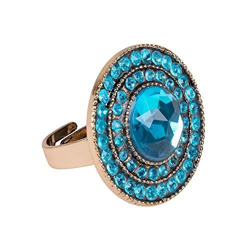 Boland 64424  Anillo Topaz of Nile, dorado y turquesa, para adultos, bisutera, anillo con piedras preciosas, Egipterina, Cleopatra, carnaval, fiesta temtica, Halloween