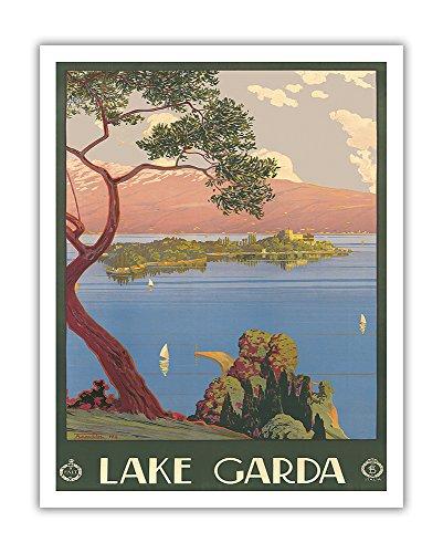 Lake Garda - Verona Northern Italy - Vintage World Travel Poster by Severino Tremator c.1920s - Fine Art Print - 11in x 14in