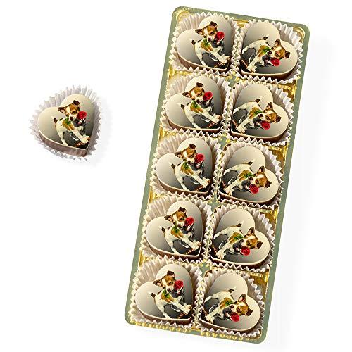 10 Personalisierte Pralinen | Haselnuss-Nougat in Edel-Vollmilch Schokolade | Herz