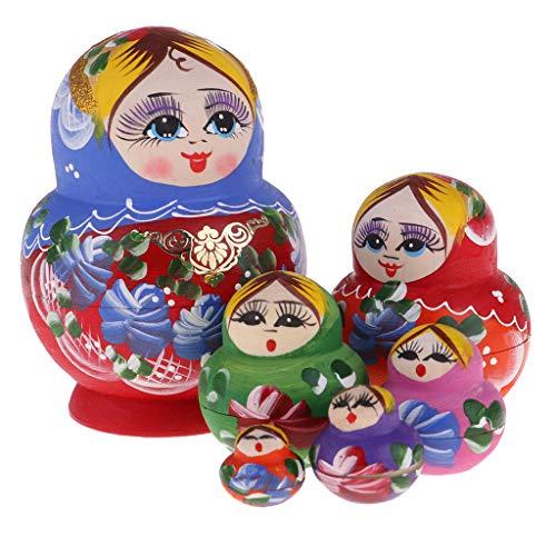 P Prettyia 10 Stück Handgefertigte Holz Russische Damen Figur Matroschka Puppen Spielzeug Geschenk für Kinder und Freunde - A