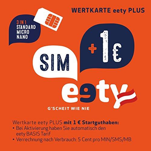 eety, scheda SIM austriaca (SIM, Micro SIM, Nano SIM) per smartphone tablet, router computer portatile, scheda con 1 euro di partenza, adatta per roaming