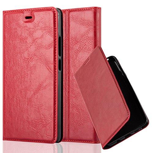 Cadorabo Hülle für ZTE Nubia Z9 MAX - Hülle in Apfel ROT – Handyhülle mit Magnetverschluss, Standfunktion & Kartenfach - Case Cover Schutzhülle Etui Tasche Book Klapp Style