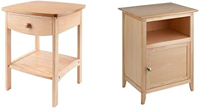 Winsome Wood Claire Accent Table, Natural & Wood Henry Accent Table, Natural