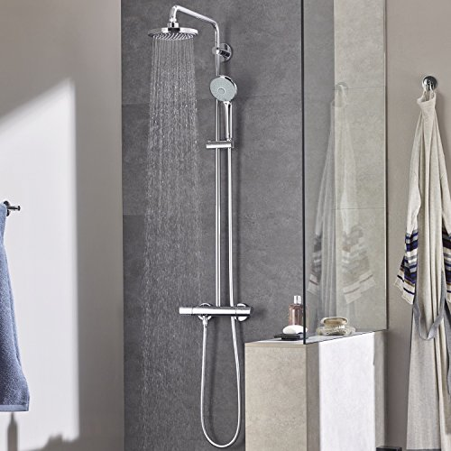 Grohe Euphoria 180 - Sistema de ducha con termostato, alcachofa de 180mm y teleducha tres chorros de 110mm (Ref. 27296001)