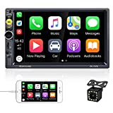 AMPrime Double Din Car Stereo Radio with Bluetooth 7 Inch 1080P Touch Screen FM Receiver MP5 Car Multimedia Player Support D- Play Mirror Link,Subwoofer Input, 12LED Backup Camera,Remote Control,SWC