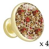 Handgemalte rotbraune Blumen Schubladenknöpfe Gold Metall Schranktür Knöpfe Griffe mit Kristallglas für die Tür der Kommode Schrank Kleiderschrank Bad zieht (4 Stück) 3.2x3x1.7cm