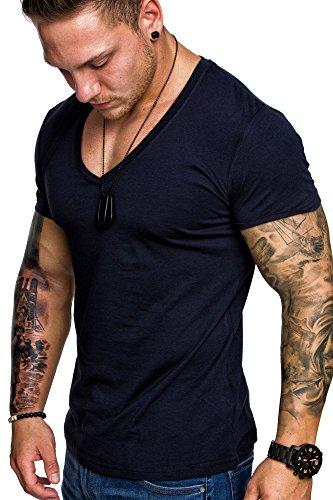 Amaci&Sons Oversize Herren Slim-Fit V-Neck Basic T-Shirt V-Ausschnitt 1-0006 Navyblau S