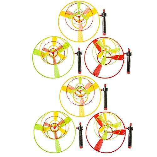 Lg-Imports 6x Flugkreisel Spiel Hubschrauber Propeller fliegende Untertasse Mitgebsel Tombola