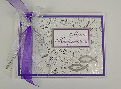 Gästebuch zur Konfirmation Fische - lila Din A5 quer *HANDMADE*