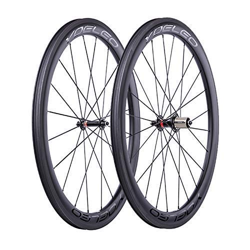 YOELEO Road Bike Wheels SAT C50 STD Clincher Carbon 700C Bicycle Wheelset for Training and Racing (25mm, Black Glossy)