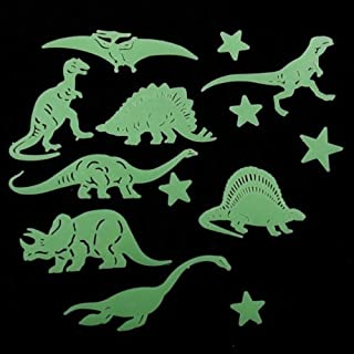 Linker Wish Dinosaur Wall Stickers 13 Pcs Plastic Glow in The Dark Star Dinosaur Fluorescent Stickers