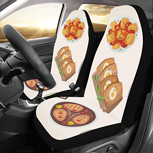 Rtosd Delicious Food Dinner Cartoon Custom New Universal Fit Auto Drive Car Seat Covers Protector For Women Automobile Jeep Truck Suv Vehicle Full Set Accessories For Adult Baby (set Of 2 Front)