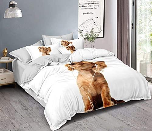 Ropa de cama 3D de perrito, funda nórdica de 135 x 200 cm + 80 x 80 cm, doble cara, color blanco, marrón y gris, con cierre