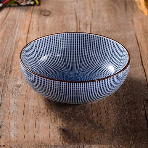 LIXUE Grand bol à mélanger la soupe Ramen noodle bol de salade de fruits Céréales Dessert Pasta desservant l'aumône Bowl créatif vaisselle en porcelaine peinte à la main bleu/blanc