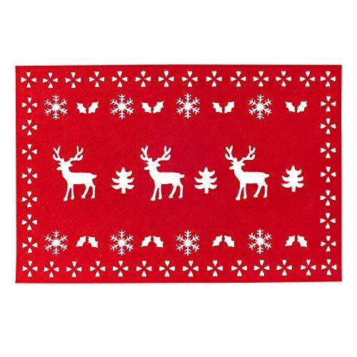 Neviti - Juego de 4 manteles Individuales de Fieltro de Reno navideño, Color Rojo
