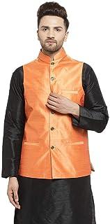 Benstoke mens silk Dupion Nehru Jacket Waistcoat