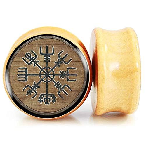 FLYUN Wood Ear Gauge Size 10MM 00 Gauges For Ears Organic Natural Plug Tunnel Stretcher Expander Saddle Gauges Women Men Piercings Jewelry Norse Viking Vegvisir Aegishjalmur (00G (10mm))