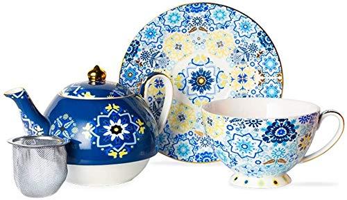 Teteras / Café Conjunto de té de porcelana de cerámica Conjunto de té tetera taza platillo platillo acero inoxidable filtro oficina oficina té y café decoración del hogar regalo para el hogar de la bo