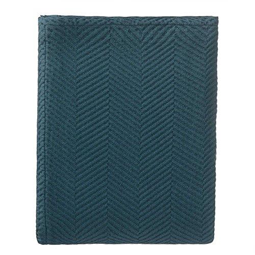 """URBANARA Tagesdecke """"Lixa"""" – 100% Reine Baumwolle, Petrol, texturiertes Fischgrat – 180 x 230 cm, Überwurf, Decke, Bettüberwurf, Sofaüberwurf, Baumwolldecke"""