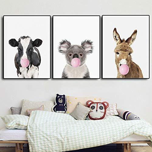 RHBNVR 30 * 40 cm 3 stuks koalabair koe hert hond beer dier poster afdrukken kauwgom canvas schilderij muurkunst kinderkamer decoratie
