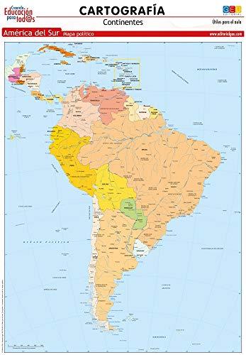 Mapa De América Del Sur. político   Láminas didácticas   Material escolar y educativo (cartografía)