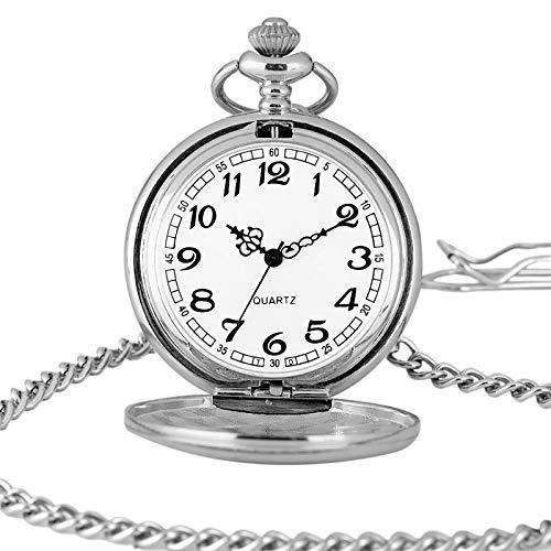 HANXIAO Taschenuhren Glatte Silberne hängende Taschenuhr Moderne arabische Zahl analoge Uhr Männer und Frauen Arbeiten Halskette-c um