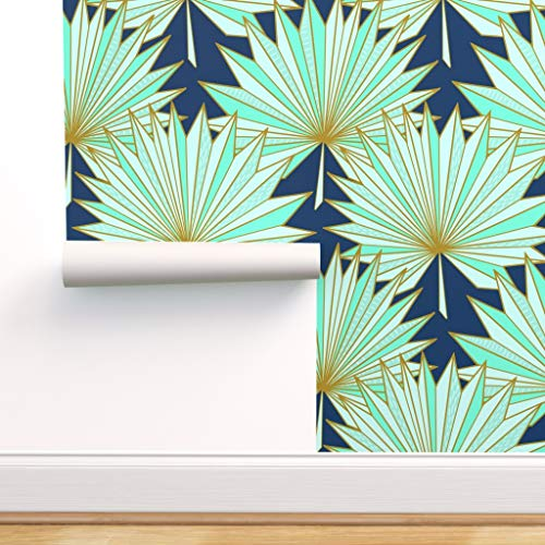 Spoonflower Peel and Stick Removable Wallpaper, Art Deco, Palm, Fan, Navy, Mint, Tropical, Geometric, Origami, Inspired, Gold, Blue, Modern, Print, Self-Adhesive Wallpaper 12in x 24in Test Swatch