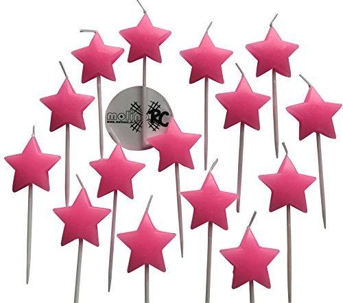 molinoRC 15x Sternkerze rosa für Einhorn   Prinzessin Lillifee Geburtstag   Kerze Tortenkerzen Feier   Fest Stern Sterne   Geburtstagskerze Dekokerze   Happy Birthday