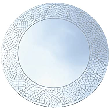 Lulu Decor, Silvershine Mosaic Wall Mirror, Decorative Round Wall Mirror, Diameter 23.5 , Inside Mirror 15 , Perfect for Housewarming Gift (LP303)