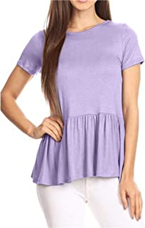 Women's Crew Neck Short Sleeve Ruffle Hem Peplum Tops Shirts