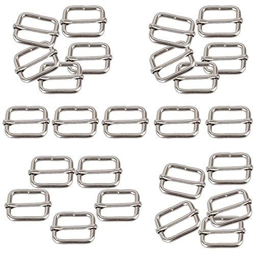 Hysagtek 50 Pcs 1 Inch Metal Adjustable Slide Buckle Strap Triglides Slides for Making Handbag, Backpack, Luggage Bag