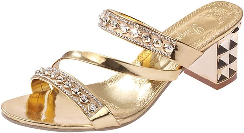 IWlxz Women's Crystal Sandals PU(Polyurethane) Spring Summer Comfort Heels Low Heel Rivet gold Silver