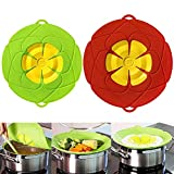 AUSINCERE Spill Stopper Lid Cover,Anti Spill Lid Cover,No Boil Over Lid,Pot Cover Silicone Spill Stopper Lid,Boil Over Safeguard, 10.2inch+11inch Multi-Function Kitchen Tool