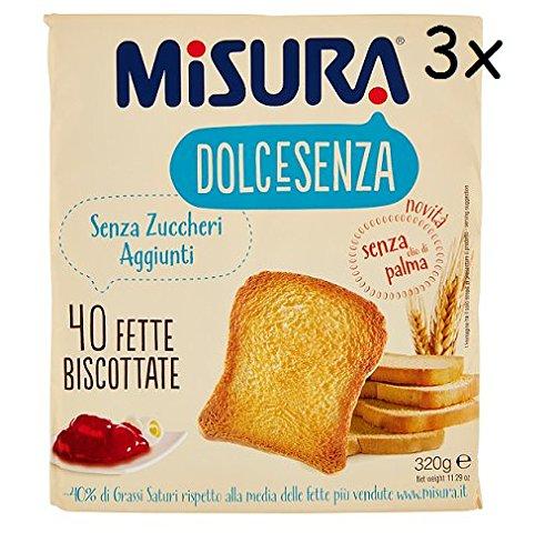 3x Misura dolcesenza Fette Biscottate Zwieback kekse gebackenem Brot 320g