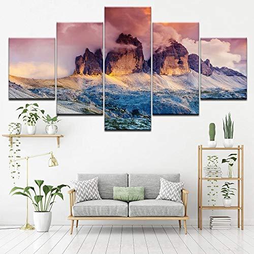 baixiangguo Montaña Nevada con Nieblapintura Decoración Impresión 5 Imágenes De Arte De Pintura Moderna | Lienzo Decorativo para Sala De Estar O Dormitorio-150Cm X 80Cm